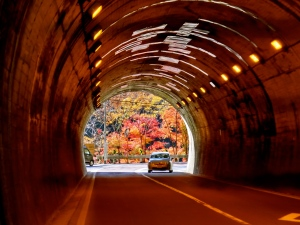 One of the many tunnels through the mountains