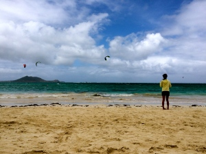 Watching the kite surfers at Kailua Beach